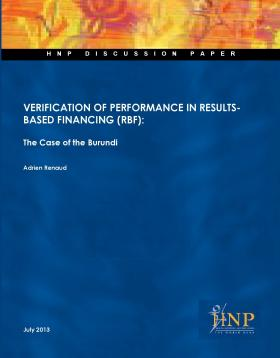 Cover of Verification of Performance in Results-Based Financing - The Case of Burundi
