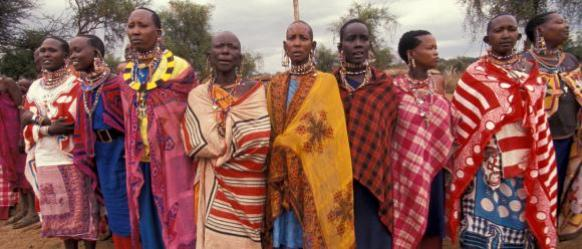 A group of women in Kenya in traditional clothing